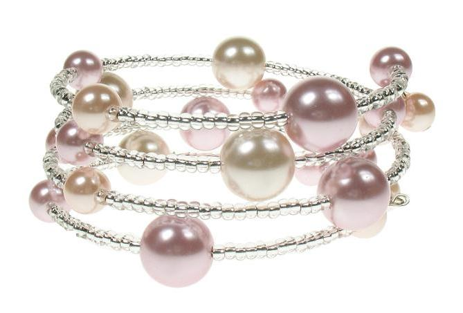 PINK 'Shades of Pink' Lunar Glass Pearl Bracelet Wrap
