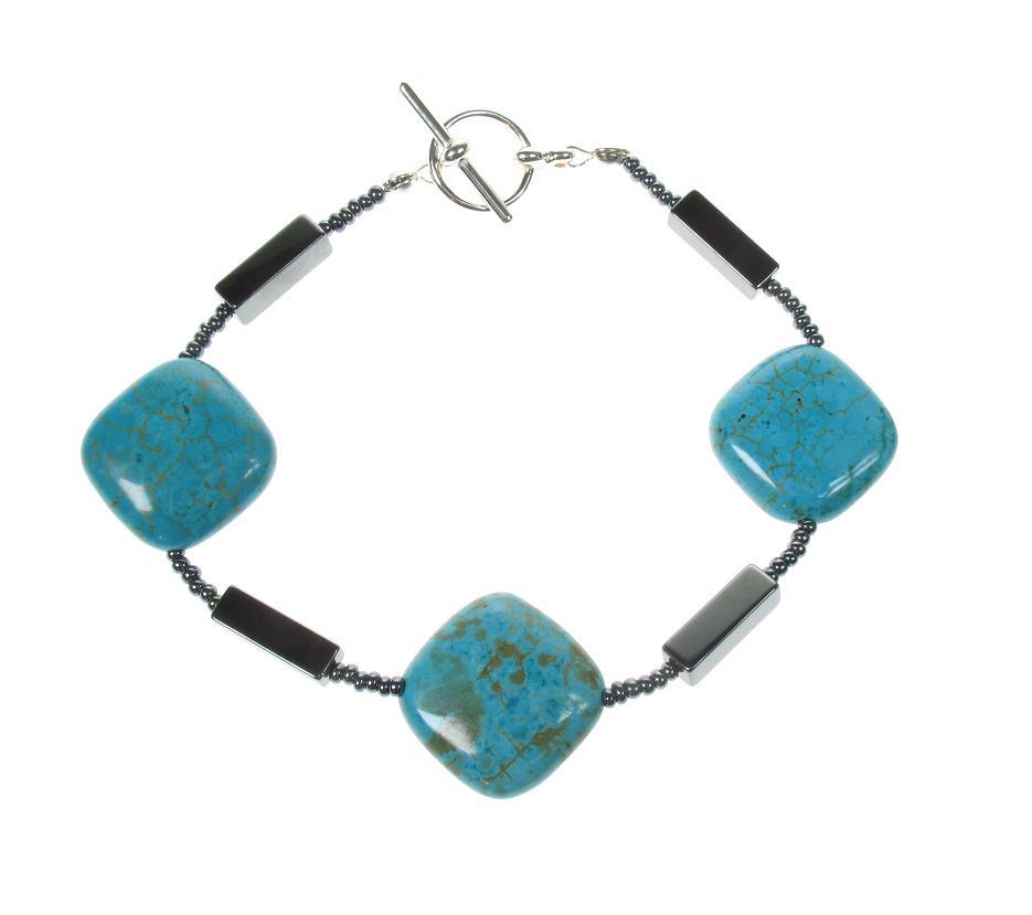PINK Turquoise Squares Bracelet