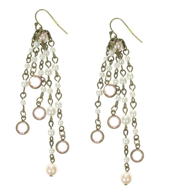 Lisbeth Dahl Pearl Drops Earrings - Vintage Gold/Pale Pink