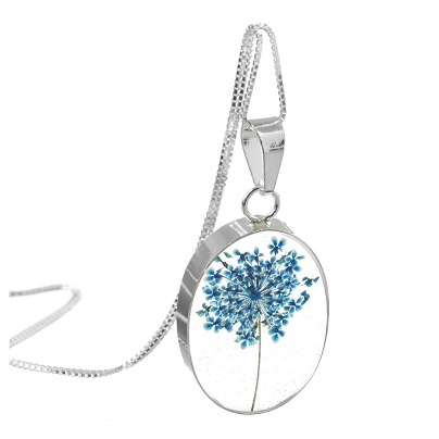 Blue Gypsophila Flower Oval Pendant & Chain - Sterling 925 Silver