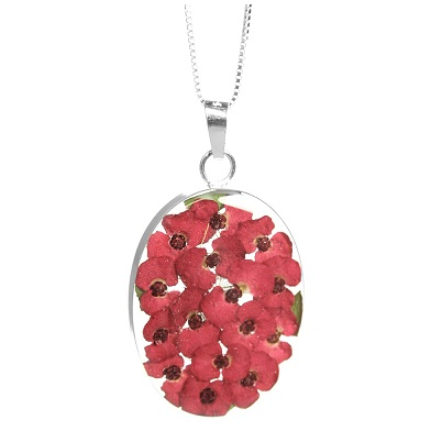 Red Poppy Flower Oval Pendant & Chain - Sterling 925 Silver
