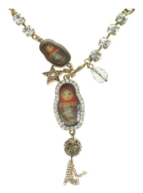 Two Russian Dolls Necklace By PILGRIM