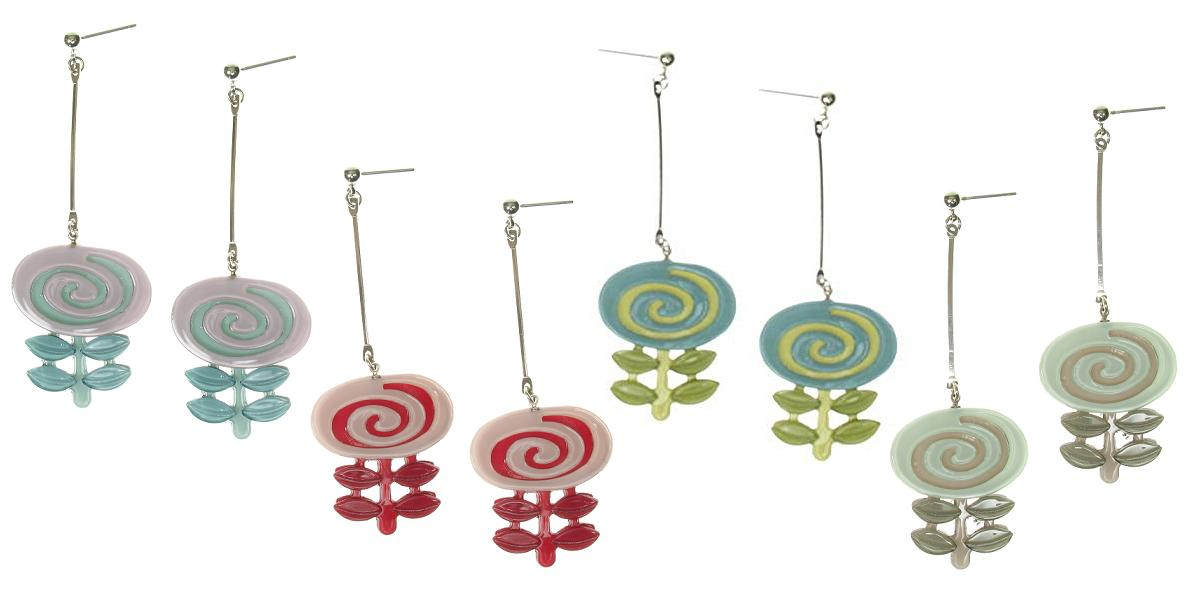 Big Baby Flower Swirl Earrings