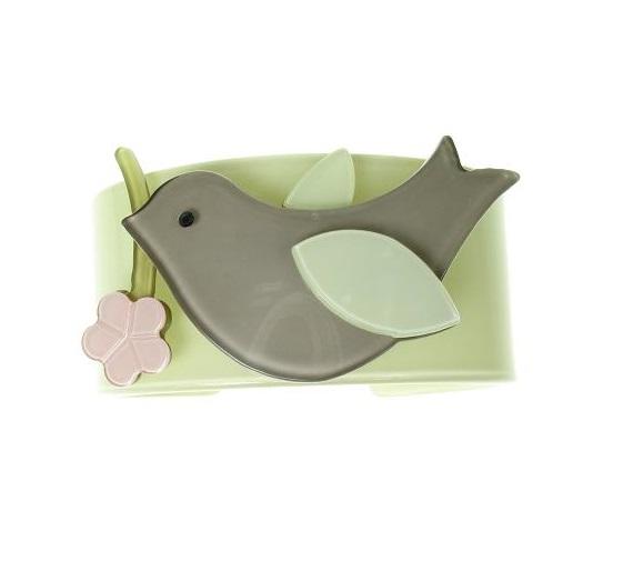 Bird & Flower Green & Grey  Wide Cuff - BIG BABY Bangle