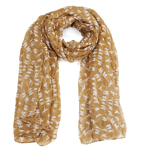 Bird Print Scarf - Beige & Cream