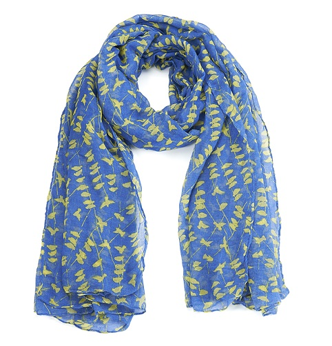 Bird Print Scarf - Blue & Yellow