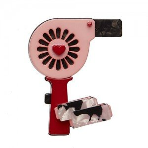Blown Away - Erstwilder Hair-Dryer & Rollers Brooch