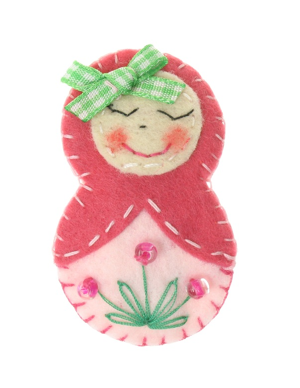 BOBBLELICIOUS Russian Doll Hair Clip - Pink/Pale Pink