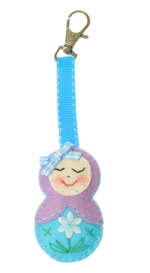 BOBBLELICIOUS Russian Doll Bag Charm - Lilac/Aqua Blue/Flower Motif