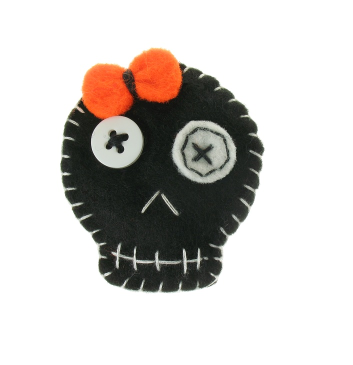 BOBBLELICIOUS Cute Skull Brooch/Pin - Black Felt