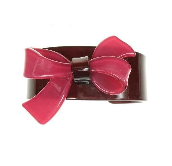 Slim Bow Cerise & Chocolate Cuff - BIG BABY Bangle