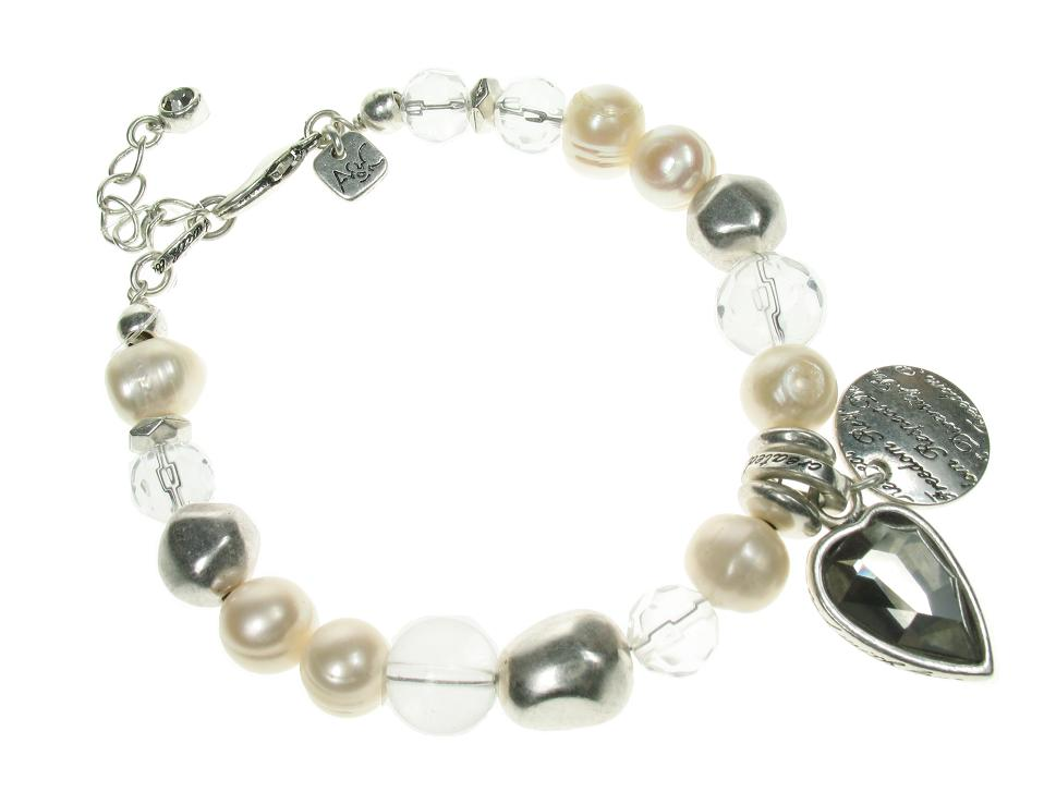 Silver Faceted Crystal Heart Bracelet By A & C