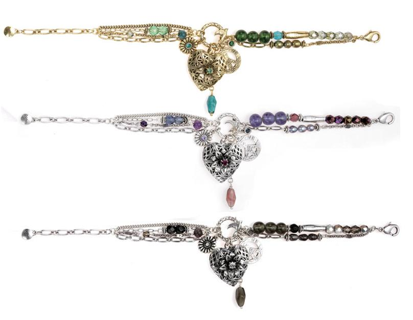Bohm Bohemian Heart Locket Charm Adjustable Bracelet