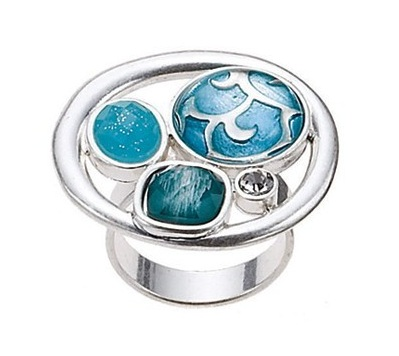 The Bohm - City Chic - Adjustable Ring - Silver/Blue