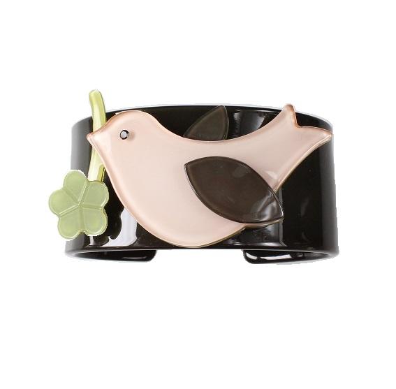 Bird & Flower Dark Grey & Pink Wide Cuff - BIG BABY Bangle