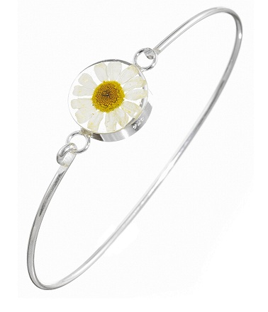 Daisy Flower Round Detail Bangle - Sterling 925 Silver