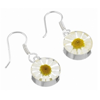 Daisy Flower Round Drop Earrings - Sterling 925 Silver