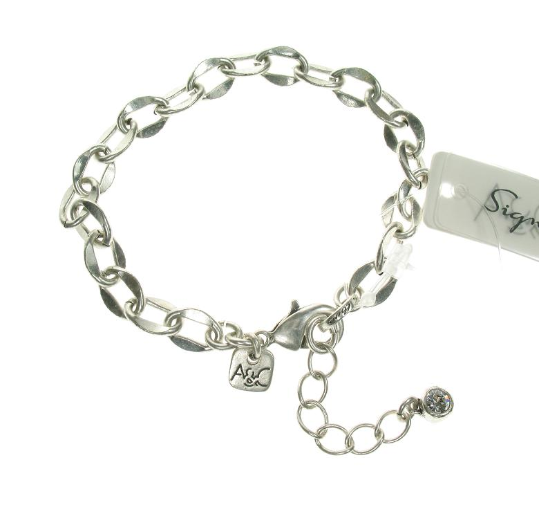 A & C Flat Link Bracelet  For Clasp-on Charms
