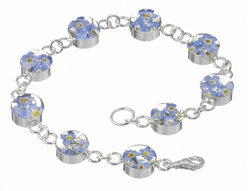 Forget-Me-Not Flower Round Links Bracelet - Sterling 925 Silver