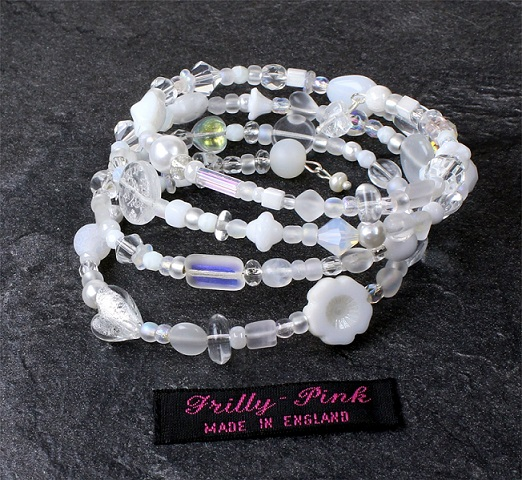'Frilly-Pink' Memory Wire Wrap Bracelet - White & Clear