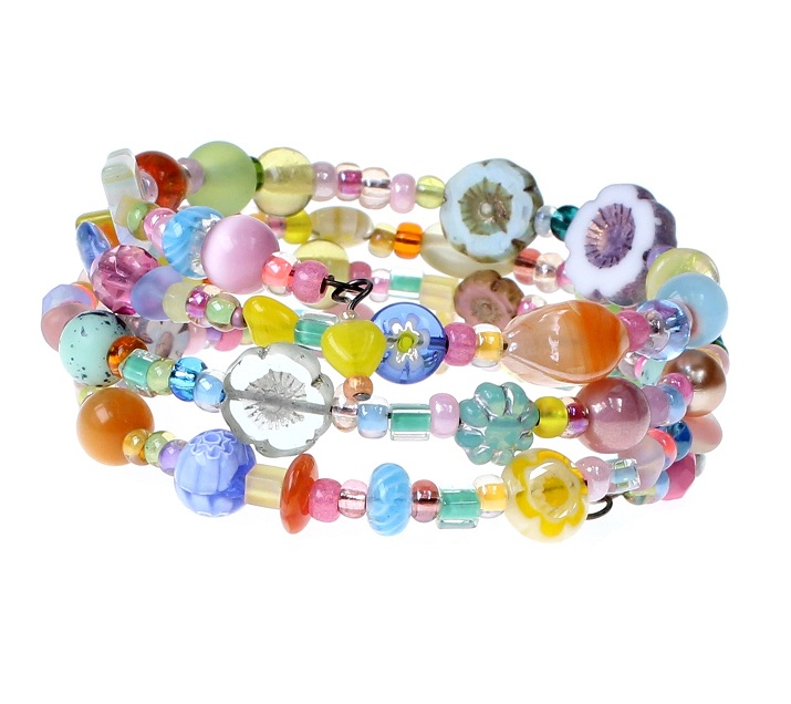 'Frilly-Pink' Memory Wire Wrap Bracelet - Candy Colour Mix