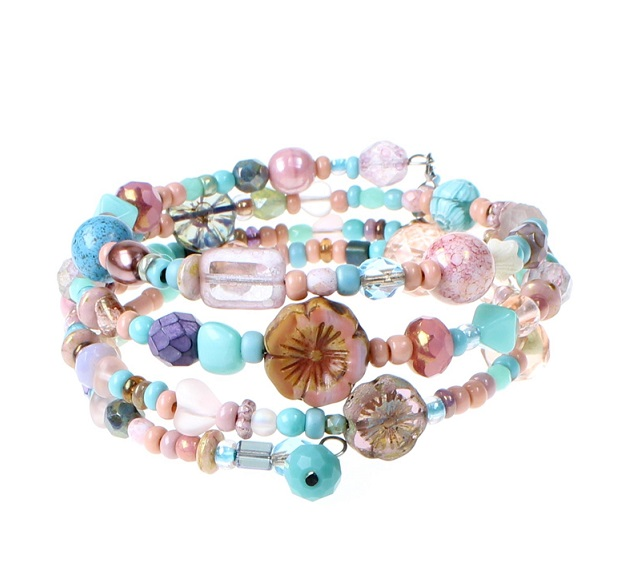 'Frilly-Pink' Memory Wire Wrap Bracelet - Turquoise & Pinks