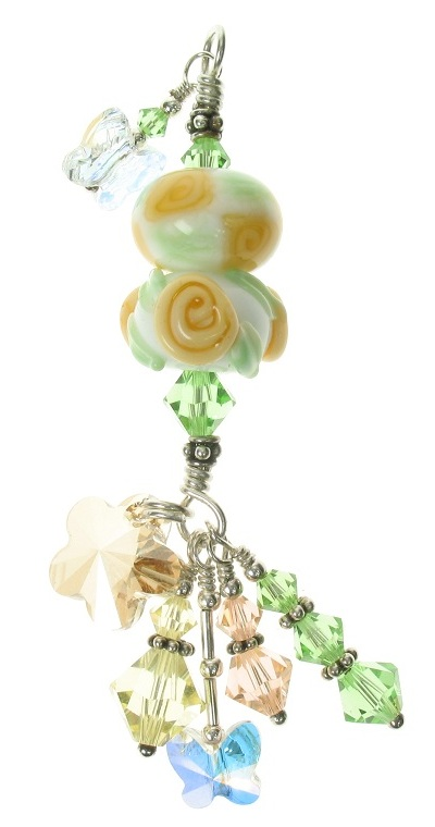 OOAK GLASSIER Glass Duo Pendant - Apricot Roses/White