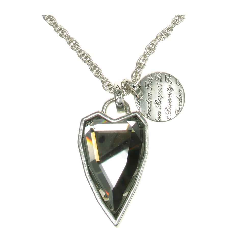 Silver Faceted Grey Crystal Heart  Necklace By A & C