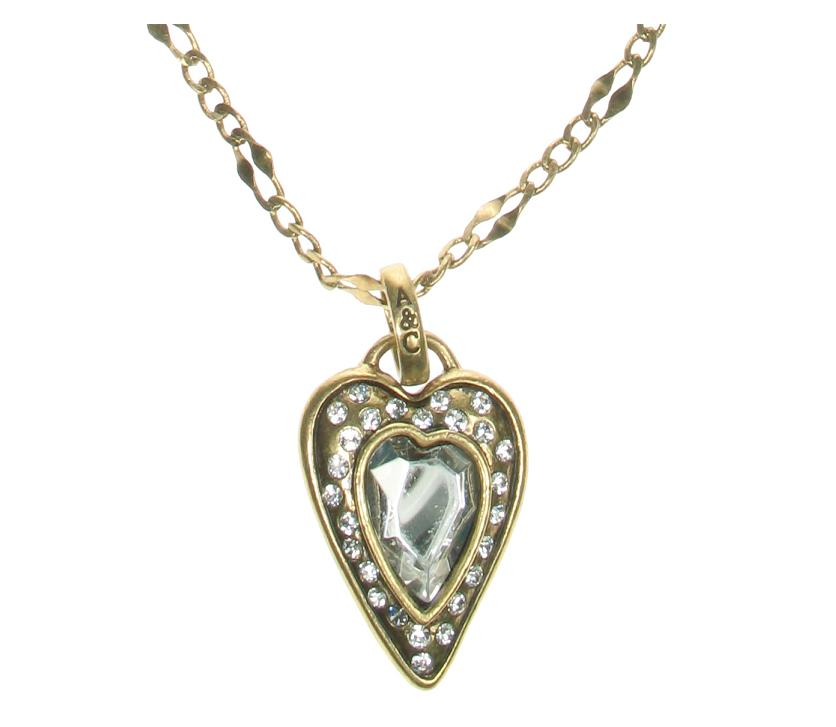 Gold Faceted Crystal Heart Stud Necklace By A & C