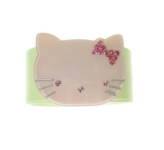 Kitty Cat Green & Pink Cuff - BIG BABY Bangle