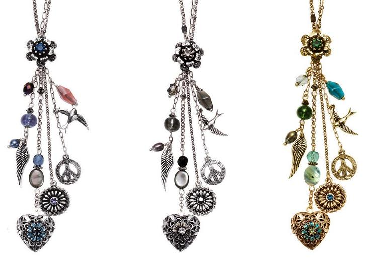 Bohm Bohemian Heart  Locket  Cascade Necklace