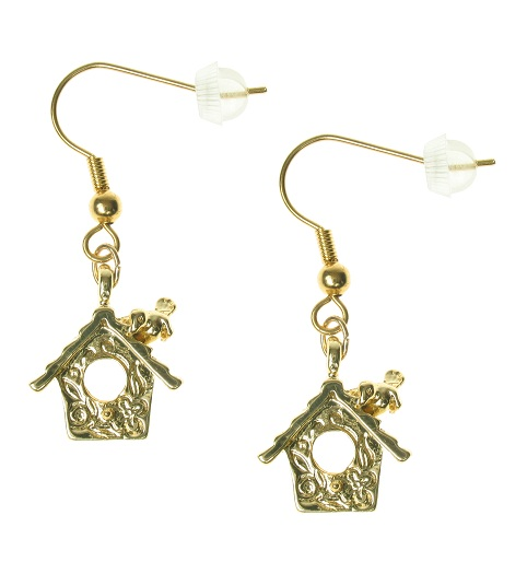 Maria Allen Cuckoo Clock Earrings - Gold Plated