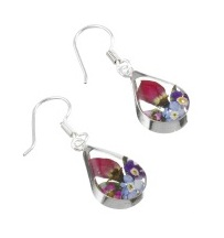 Mixed Flower Tear Drop Earrings - Sterling 925 Silver