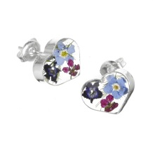 Mixed Flower Heart Stud Earrings - Sterling 925 Silver