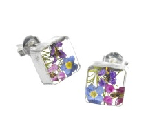 Mixed Flower Square Stud Earrings - Sterling 925 Silver