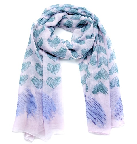 Sweet Heart Print Scarf - Green/Purple/Cream