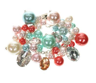 Lisbeth Dahl Pastels Pearl Charm Bracelet - Silver/Various Pastels