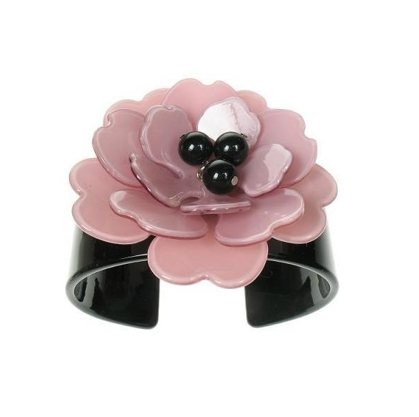 Peony Black Cuff & Pink Flower - BIG BABY Bangle