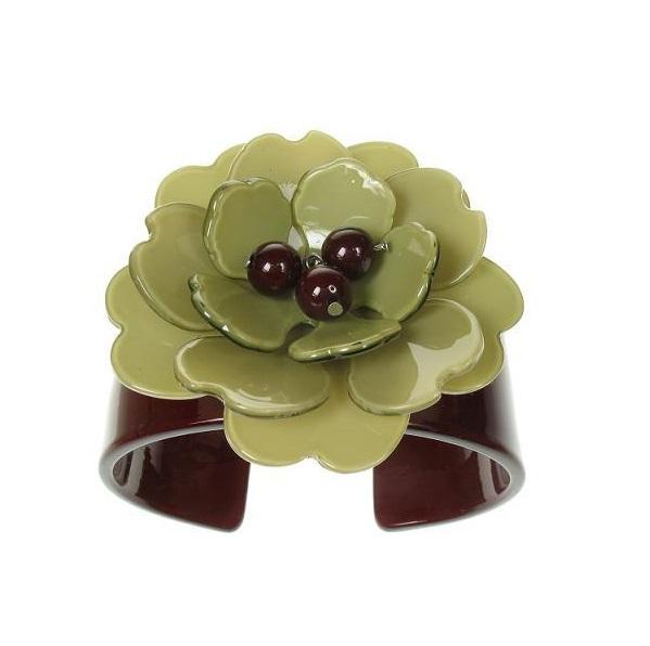 Peony Chocolate Cuff & Moss Green Flower - BIG BABY Bangle