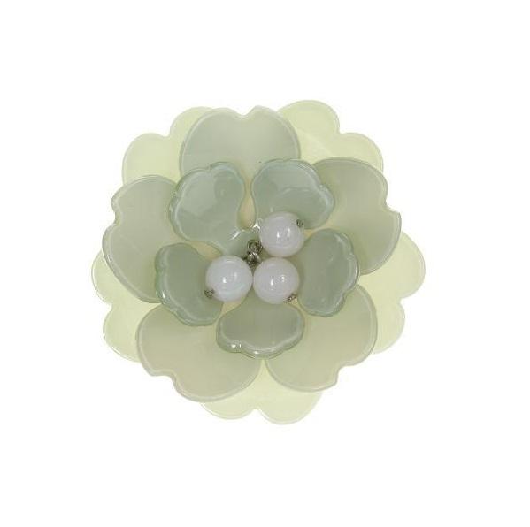 Peony Vanilla Cuff & Green Flower - BIG BABY Bangle