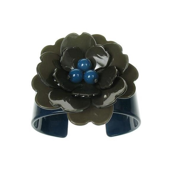 Peony Ink Blue Cuff & Charcoal Grey Flower - BIG BABY Bangle