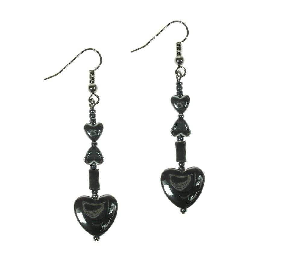 PINK Hematite Heart Earrings