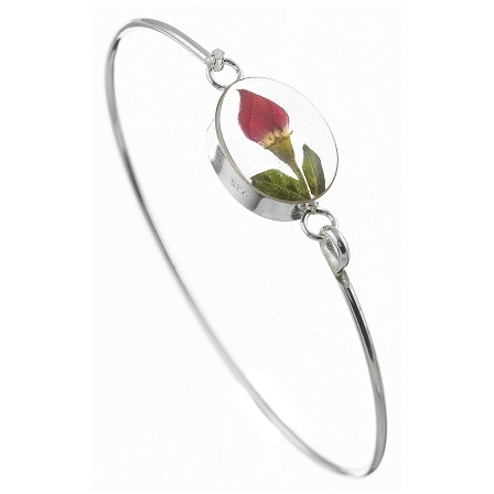 Rose Bud Flower Round Detail Bangle - Sterling 925 Silver