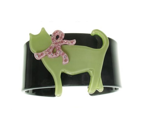 Sophisticated Black & Green Cat Cuff - BIG BABY Bangle
