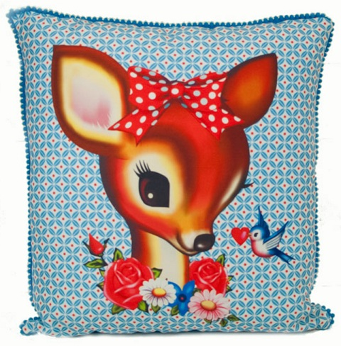 Deer & Bird Square Cushion With Small Pom-Pom Trim - Fiona Hewitt