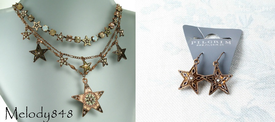 PILGRIM Copper Pink Star Multi-Strand Necklace & Earrings Set