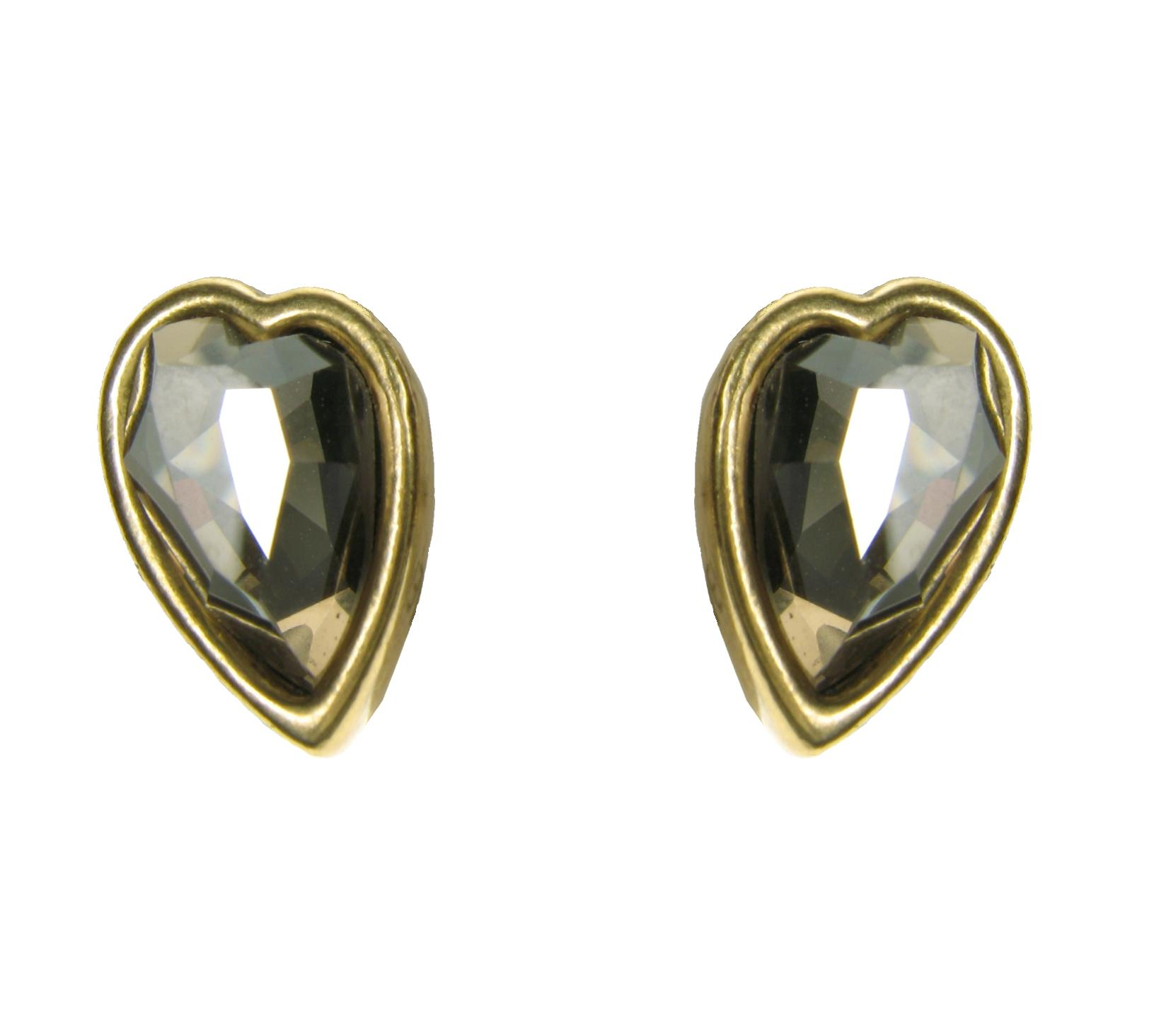 Gold Faceted Crystal Heart  Stud Earrings By A & C