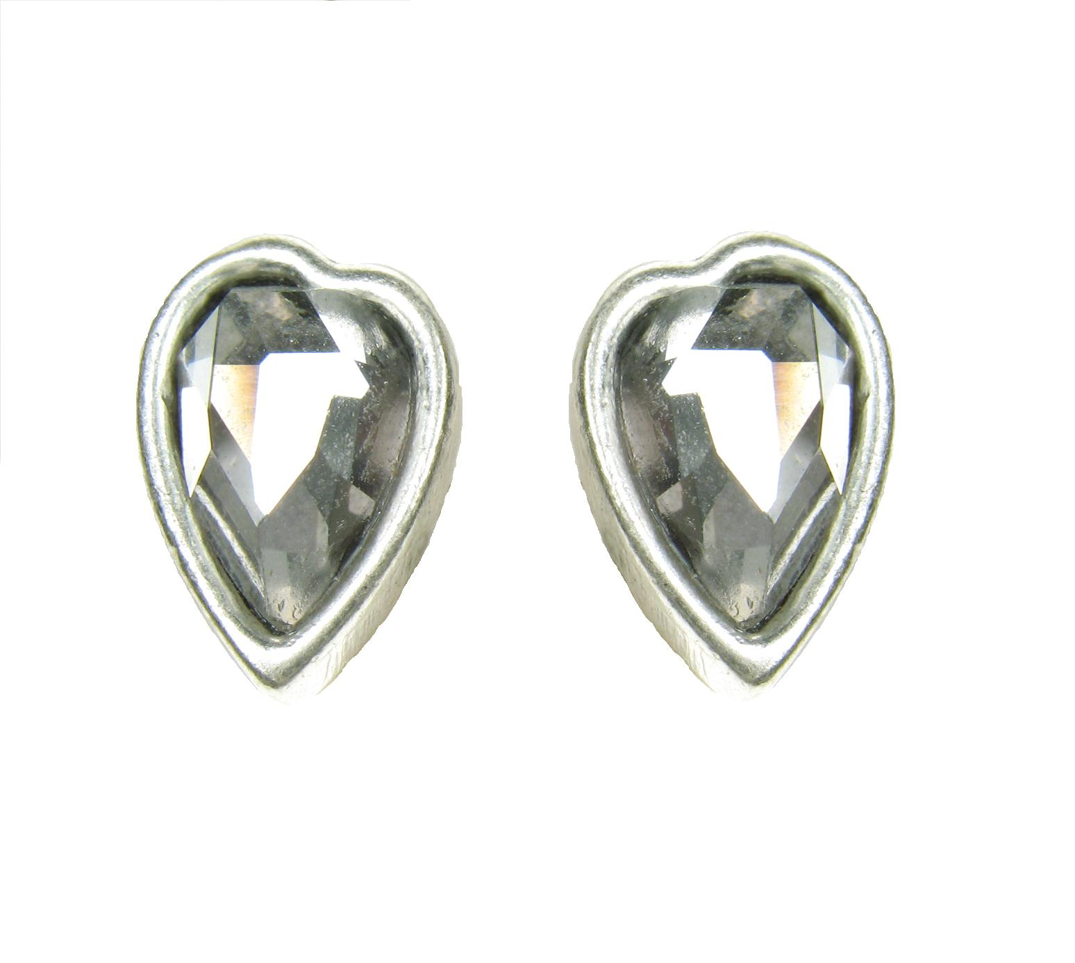 Silver Faceted Crystal Heart  Stud Earrings By A & C