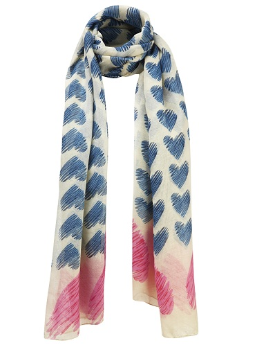 Sweet Heart Print Scarf - Blue/Pink/Cream