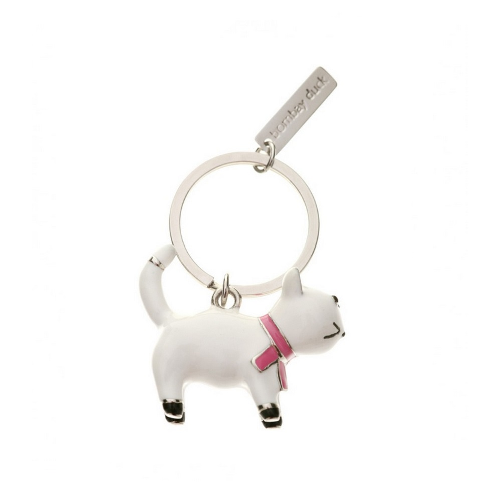 Bombay Duck Cute White Kitty Cat Key Ring